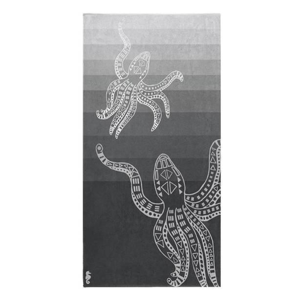 Seahorse Octopus strandlaken - 100% katoen - 100x180 cm - Grey