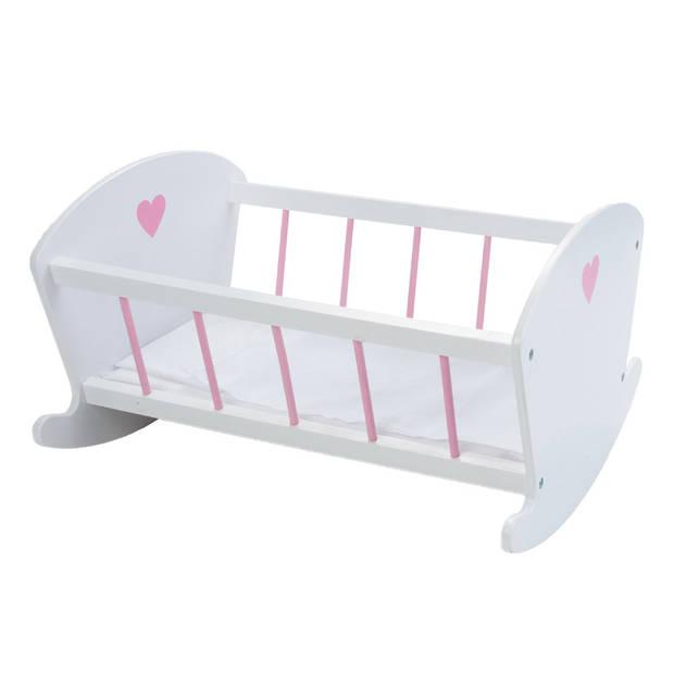 Angel Toys houten poppenschommelbedje - wit/roze