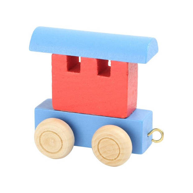 Small Foot treinwagon hout rood/blauw 6 x 3 x 5,5 cm