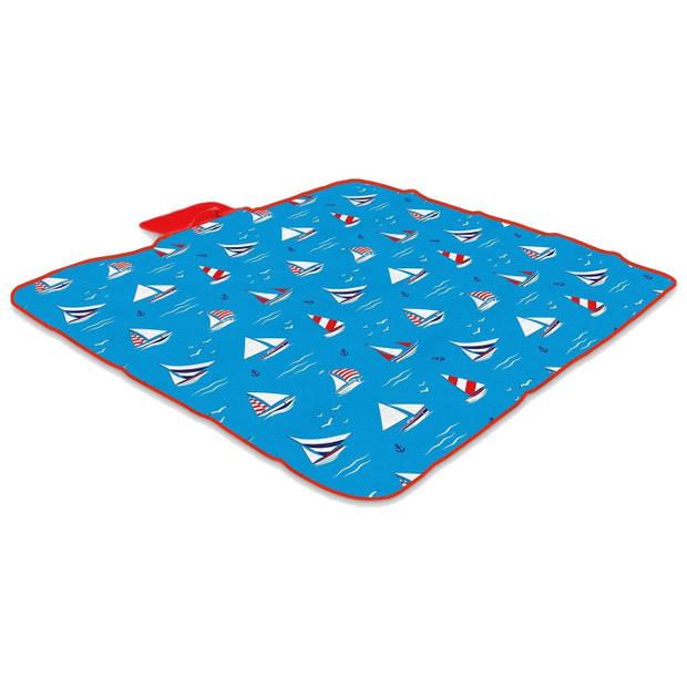Yello picknickkleed fleece blauw 120 x 135 cm