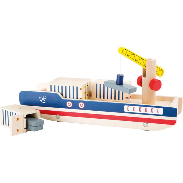 Small Foot Houten Containerschip 34 cm blauw/rood