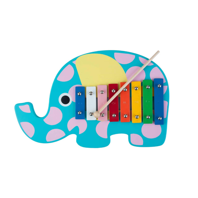 Afbeelding van Angel Toys xylofoon olifant - blauw/roze