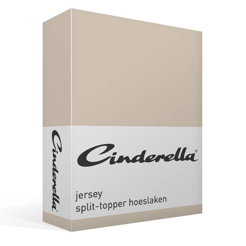 Cinderella jersey split-topper hoeslaken - 100% gebreide katoen - 2-persoons (140x200/210 cm) - Zand, Silver sand