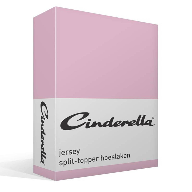 Cinderella jersey split-topper hoeslaken - 100% gebreide katoen - 2-persoons (140x200/210 cm) - Roze