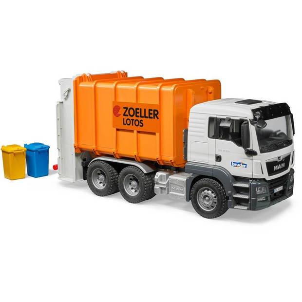 Bruder Man TGS vuilniswagen 1:16 kunststof oranje (03762)