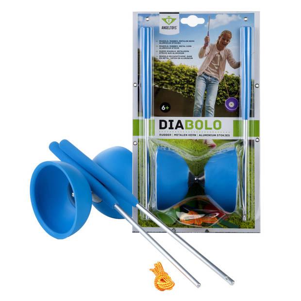 Angel Sports diabolo rubber met aluminium stokjes - blauw