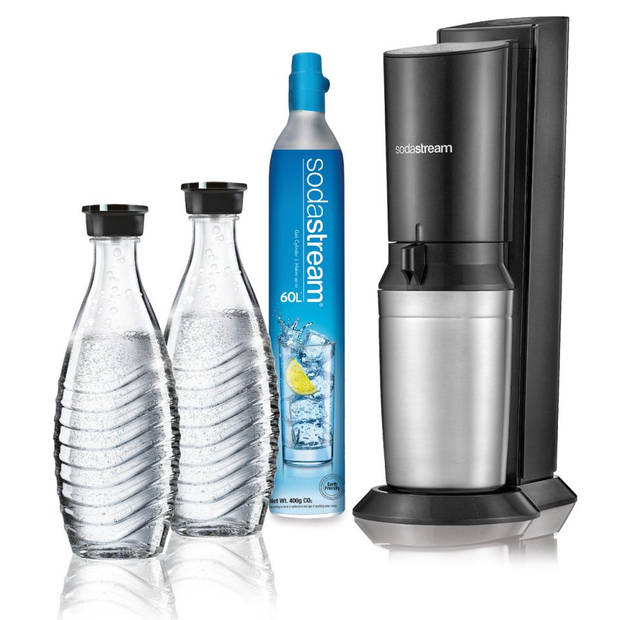 SodaStream Crystal bruiswatertoestel - zwart - incl. 2 karaffen