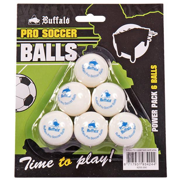 Buffalo pro tafelvoetbal balletjes set van 6 wit