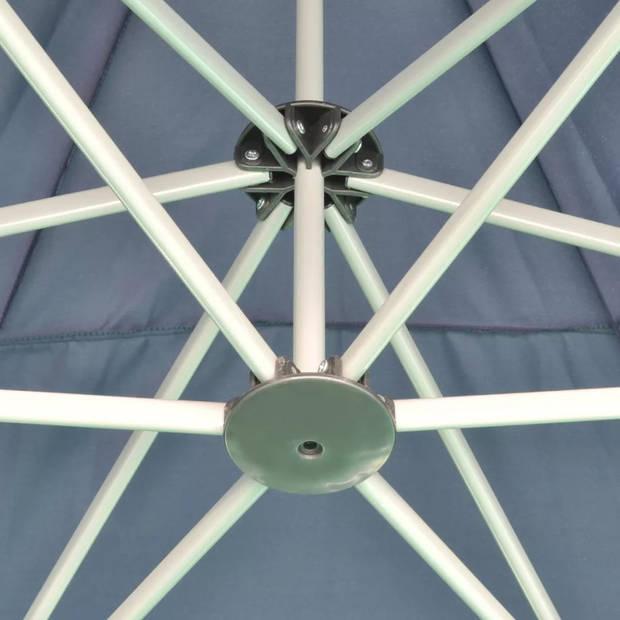 vidaXL Partytent pop-up zeshoekig inklapbaar 3,6x3,1 m donkerblauw