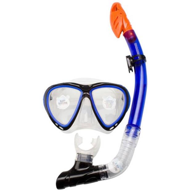Waimea Senior Duikbril met snorkel silicone kobaltblauw