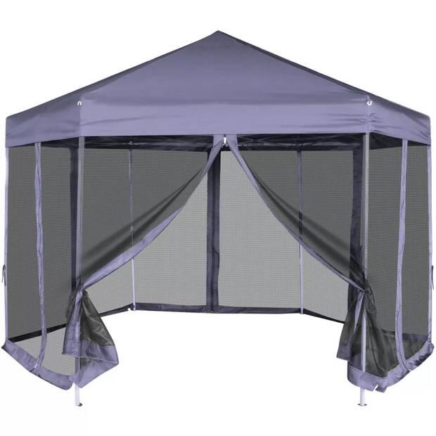 vidaXL Partytent pop-up zeshoekig met 6 zijwanden 3,6x3,1 m donkerblauw