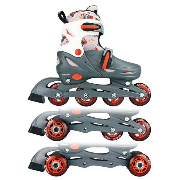 Nijdam Inline Quads rolschaatsen - maat 27/30 - grijs/rood