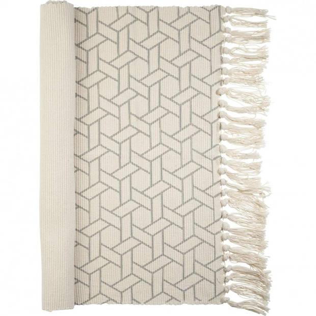 Karpet - 90 x 60 cm - polyester - katoen - grijs