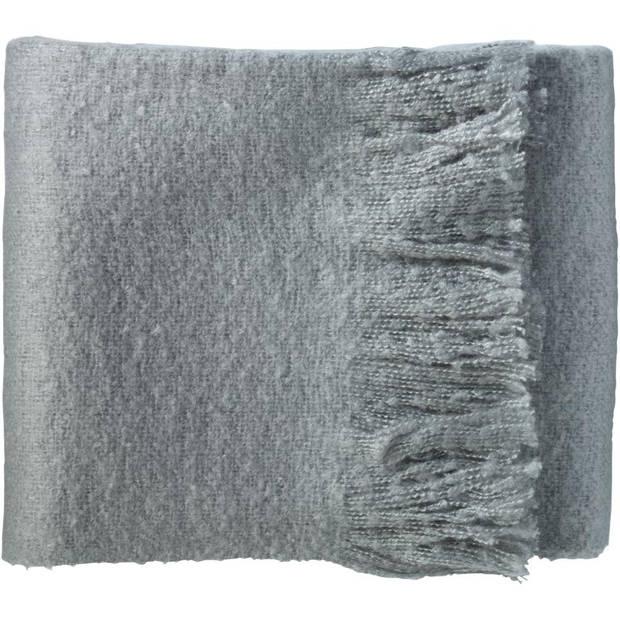 Plaid met franjes - 130 x 160 cm - katoen - grijs