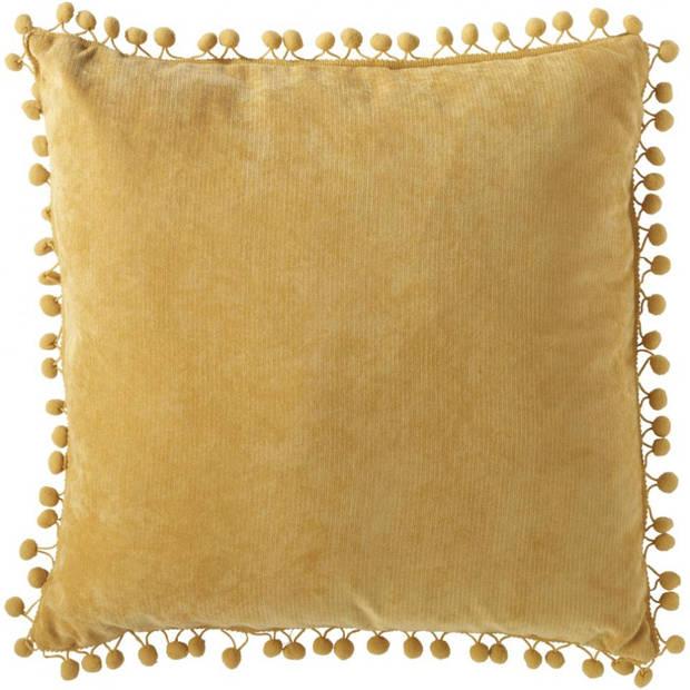 Velvet kussen met pompom - oker geel - 45 x 45 cm