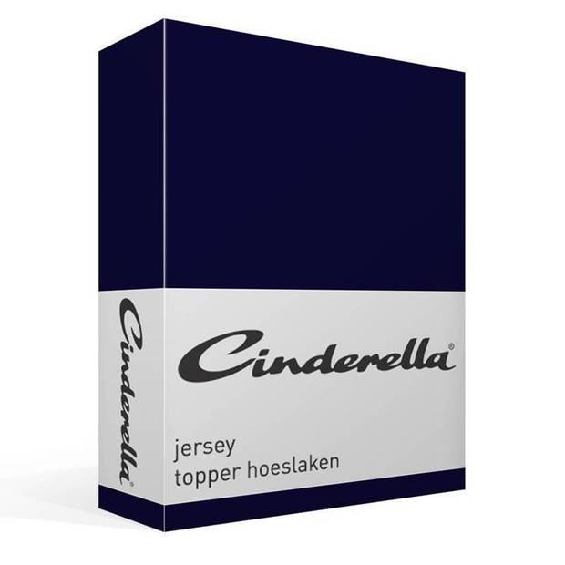 Cinderella jersey topper hoeslaken - 100% gebreide jersey katoen - Lits-jumeaux (160x200/210 cm) - Dark Blue