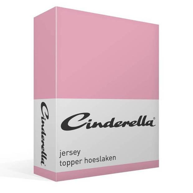 Cinderella jersey topper hoeslaken - 100% gebreide jersey katoen - Lits-jumeaux (160x200/210 cm) - Candy