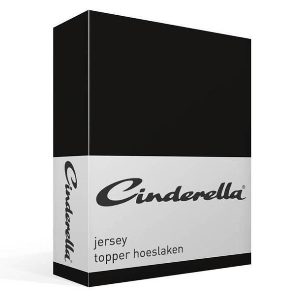 Cinderella jersey topper hoeslaken - 100% gebreide jersey katoen - 1-persoons (80/90x200/210 cm) - Black