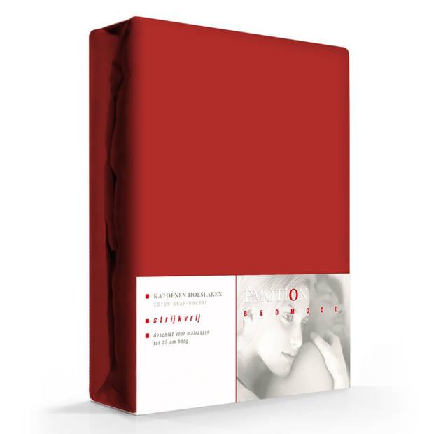 Hoeslaken Katoen Strijkvrij Kordon Rood-90 x 200 cm