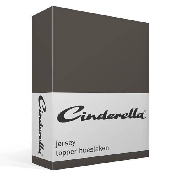 Cinderella jersey topper hoeslaken - 100% gebreide jersey katoen - Lits-jumeaux (160x200/210 cm) - Anthracite
