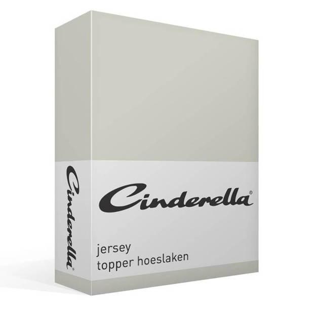 Cinderella jersey topper hoeslaken - 100% gebreide jersey katoen - Lits-jumeaux (160x200/210 cm) - Light grey