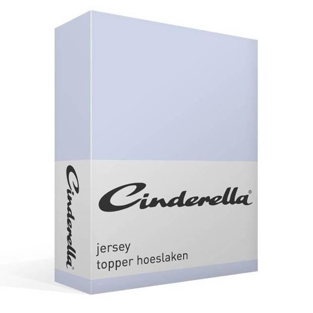 Cinderella jersey topper hoeslaken - 100% gebreide jersey katoen - Lits-jumeaux (180x200/210 cm) - Sky Blue