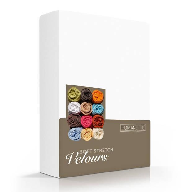 Romanette Hoeslaken Velours Wit-160/180/200 x 200/210/220 cm