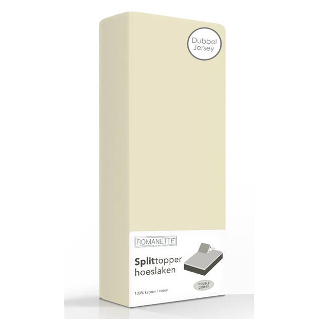 Double Jersey Splittopper Hoeslaken Romanette Beige-180 x 200/210/220 cm