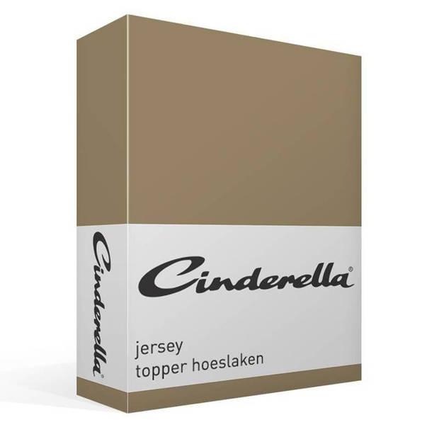 Cinderella jersey topper hoeslaken - 100% gebreide jersey katoen - Lits-jumeaux (180x200/210 cm) - Taupe