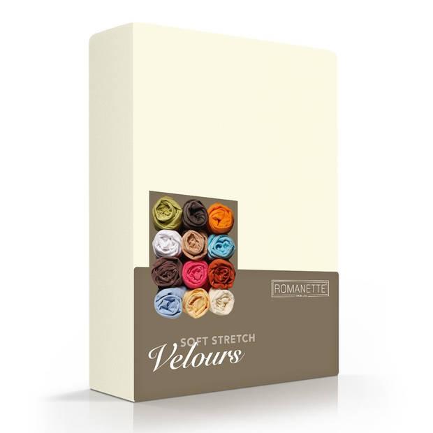 Romanette Hoeslaken Velours Ivoor-80/90/100 x 200/210/220 cm
