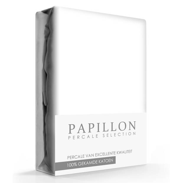 Hoeslaken Percal Papillon Wit-200 x 220 cm