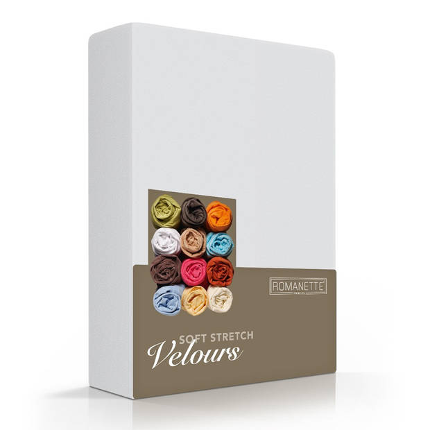 Romanette Hoeslaken Velours Zilver-80/90/100 x 200/210/220 cm