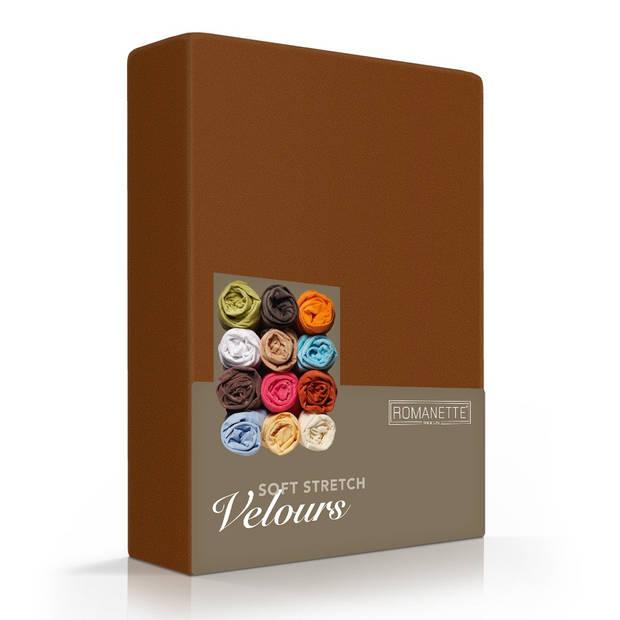 Romanette Hoeslaken Velours Bruin-80/90/100 x 200/210/220 cm