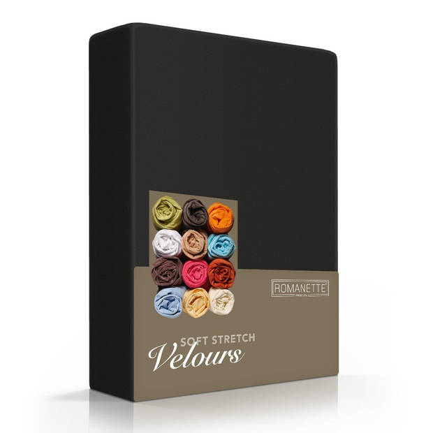 Romanette Hoeslaken Velours Zwart-160/180/200 x 200/210/220 cm