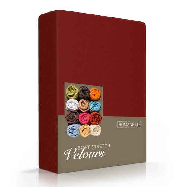 Romanette Hoeslaken Velours Bordeaux Rood-160/180/200 x 200/210/220 cm