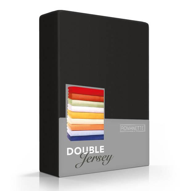 Romanette Hoeslaken Double Jersey Zwart-160/180 x 200/210/220 cm