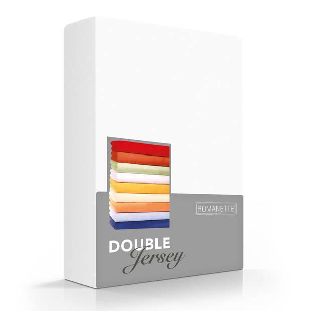 Romanette Hoeslaken Double Jersey Wit-80/90/100 x 200/210/220 cm