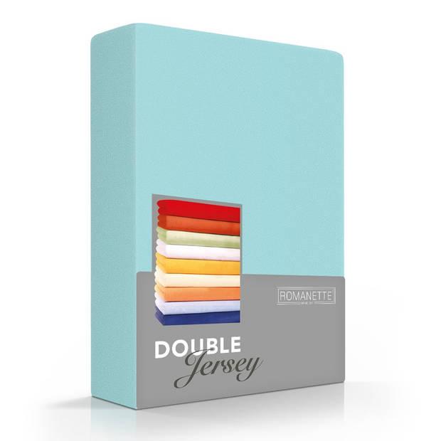Romanette Hoeslaken Double Jersey Aqua-80/90/100 x 200/210/220 cm