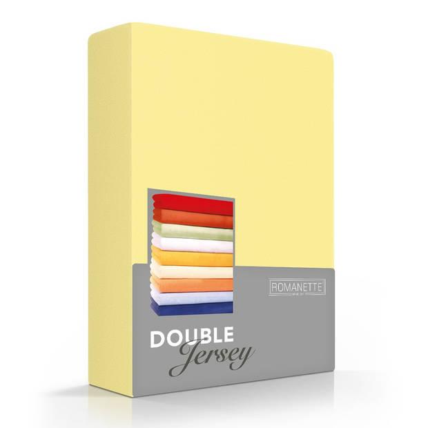 Romanette Hoeslaken Double Jersey Geel-80/90/100 x 200/210/220 cm
