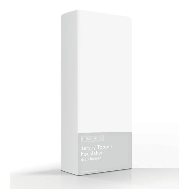 Topper Hoeslaken Romanette Jersey Wit-160/180 x 200/210/220 cm