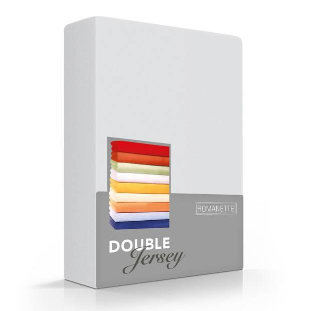 Romanette Hoeslaken Double Jersey Zilver-80/90/100 x 200/210/220 cm