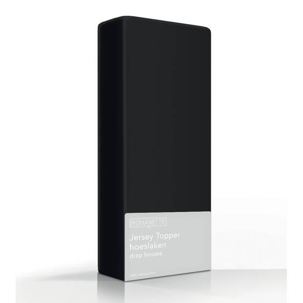 Topper Hoeslaken Romanette Jersey Zwart-160/180 x 200/210/220 cm
