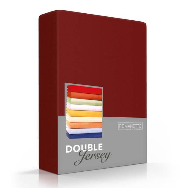 Romanette Hoeslaken Double Jersey Bordeaux rood-80/90/100 x 200/210/220 cm