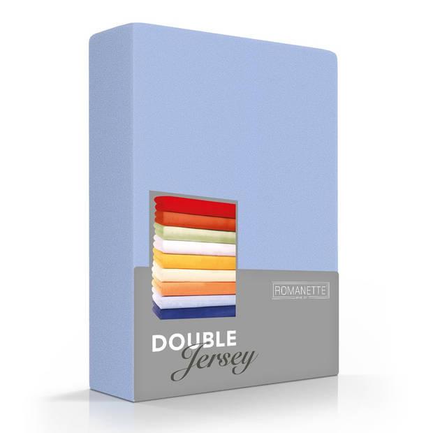 Romanette Hoeslaken Double Jersey Blauw-80/90/100 x 200/210/220 cm