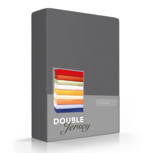 Romanette Hoeslaken Double Jersey Antraciet-160/180 x 200/210/220 cm