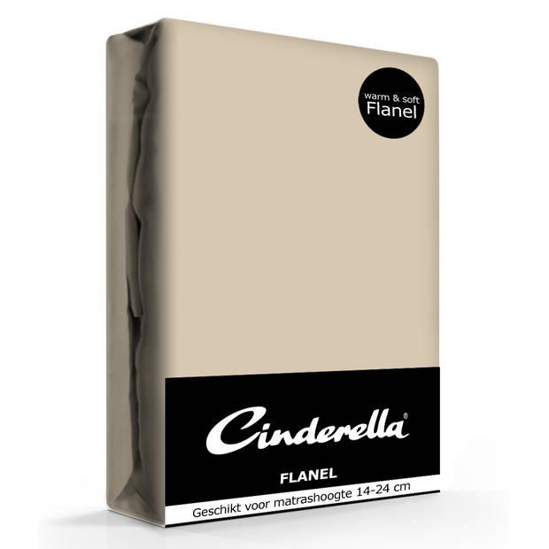 Cinderella flanellen hoeslaken taupe-180 x 200/210 cm