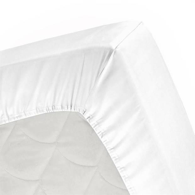 Cinderella Basic percaline katoen hoeslaken - 100% percaline katoen - 1-persoons (90x220 cm) - White