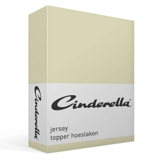 Cinderella jersey topper hoeslaken - 100% gebreide jersey katoen - Lits-jumeaux (180x200/210 cm) - Ivory