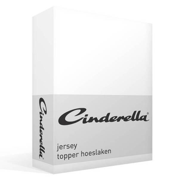 Cinderella jersey topper hoeslaken - 100% gebreide jersey katoen - Lits-jumeaux (180x200/210 cm) - White
