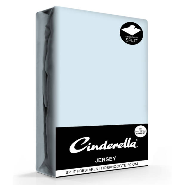 Cinderella Jersey Splithoeslaken Sky Blue-140 X 200/210 cm